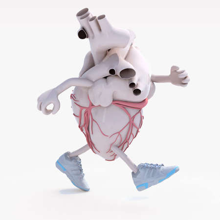 human heart with arms, legs and sneackers on his feet that is running, 3d illustration Stock Photo