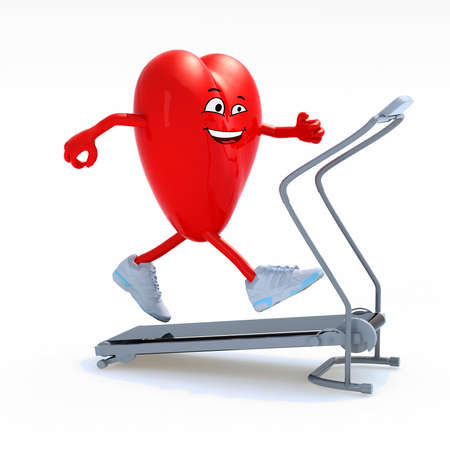 cartoon heart with arms, legs and sneackers on his feet on a running machine, 3d illustration Stock Photo