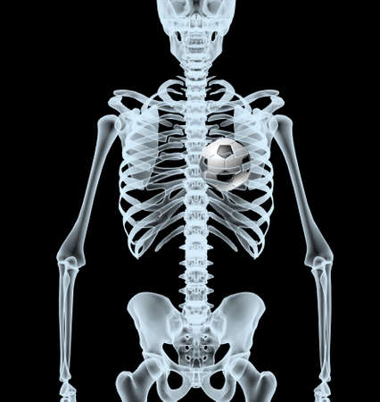 skeleton X-Ray displaying soccer ball instead heart. isolated 3d illustration on a black background Stock Photo