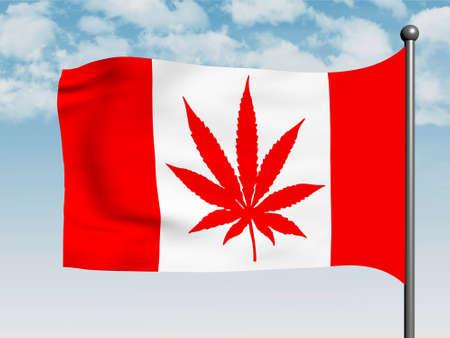 Canadian flag with marijuana leaf instead Maple Leaf, 3d illustration Stock Photo