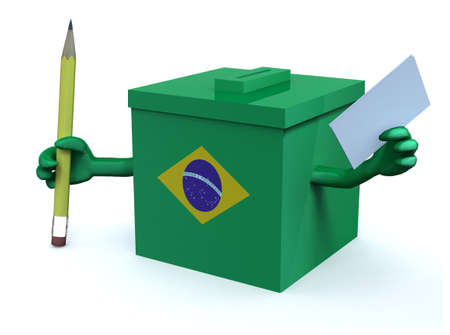Brasilian election ballot box with arms, envelope paper and pencil on hands, 3d illustration Stock Photo