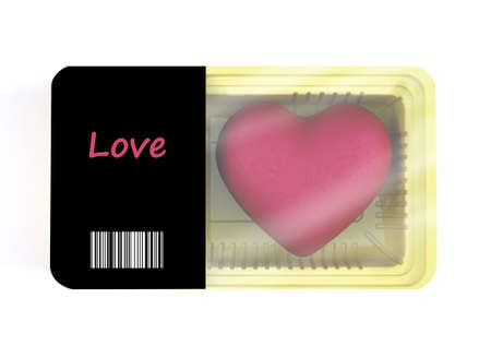 food packaging with heart cartoon inside, 3d illustration Stock Photo