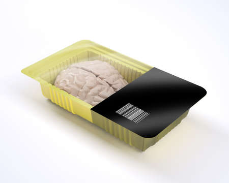 food packaging with human brain organ inside, 3d illustration Stock Photo