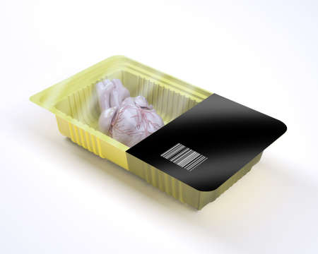 food packaging with human heart organ inside, 3d illustration