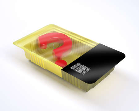 food packaging with 3d question mark inside, 3d illustration
