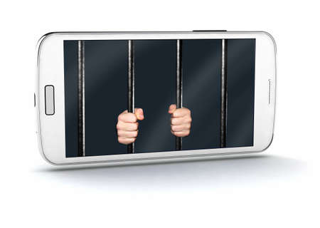 White smart phone with Hands holding Jail Bars on screen, isolated on white 3d illustration