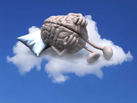 human brain with arms and legs resting on a pillow above a cloud, 3d illustration Stock Photo