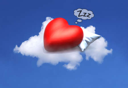 cartoon red heart resting on a pillow above a cloud on blue sky, 3d illustration