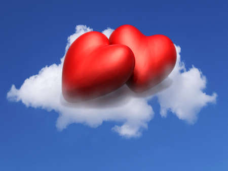 two cartoon red hearts resting above a cloud on a blue sky, 3d illustration