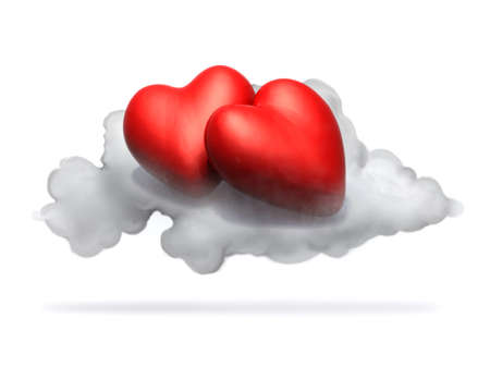 two cartoon red hearts resting above a cloud, isolated on white 3d illustration Stock Photo
