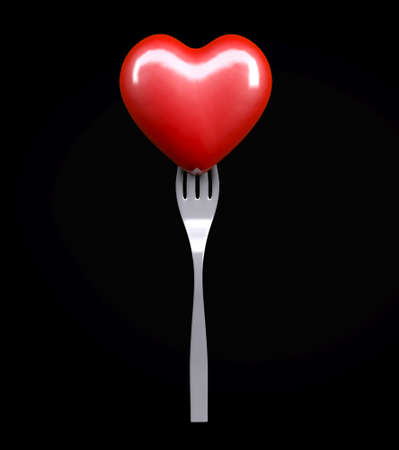 Heart on a fork isolated on black background, 3d illustration Stock Photo