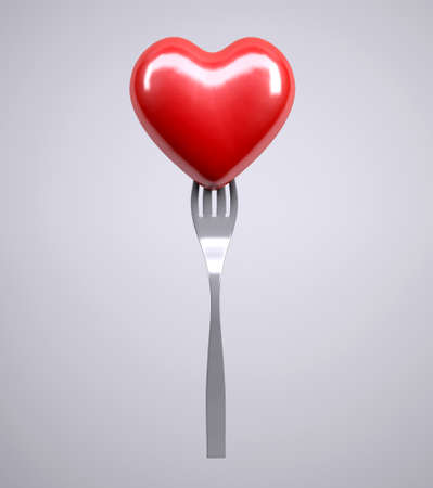 Heart on a fork isolated on gray background, 3d illustration