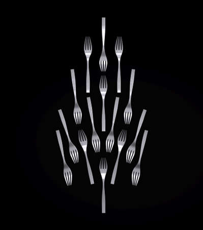 Christmas Tree made with Forks isolated on black background, 3d illustration