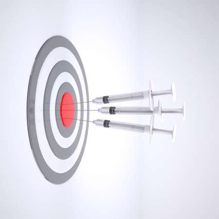 Three syringe with bulls eye isolated on white background, 3d illustration