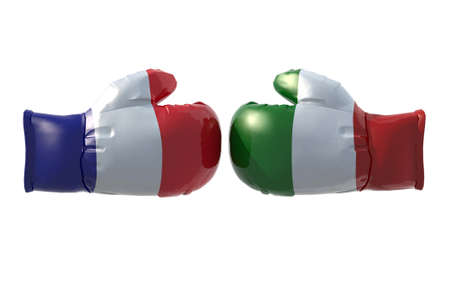 Boxing gloves with French and Italian flag, isolated 3d illustration Stock Photo