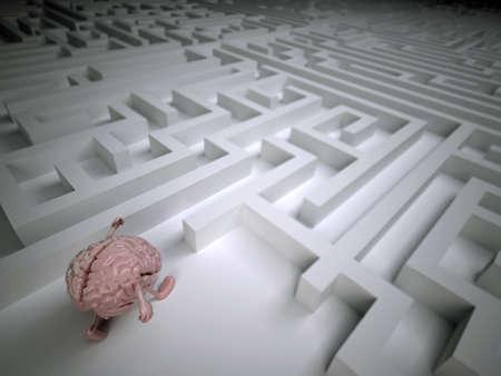 human brain in the labyrinth maze, 3d illustration