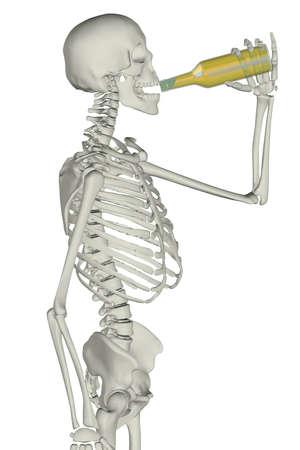 man scheleton while drink on bottle, isolated on white background 3d illustration