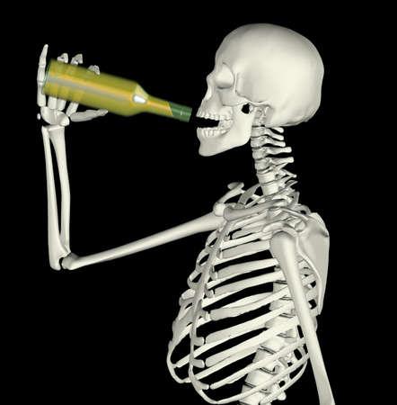 man scheleton while drink on bottle, isolated on black background 3d illustration