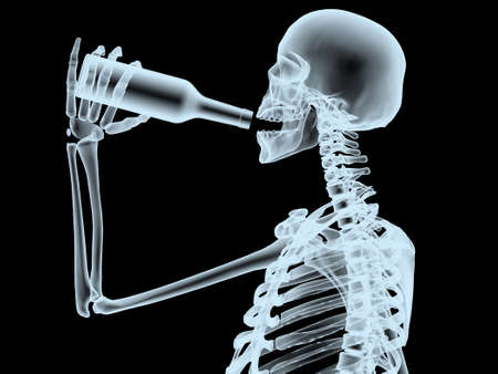 xray scheleton while drinking from the bottle, 3d illustration Stock Photo