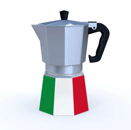 italian coffeepot with flag, 3d illustration Stock Photo