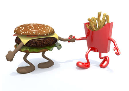 burger and fries potatos with arms and legs, hand in hand, 3d illustration
