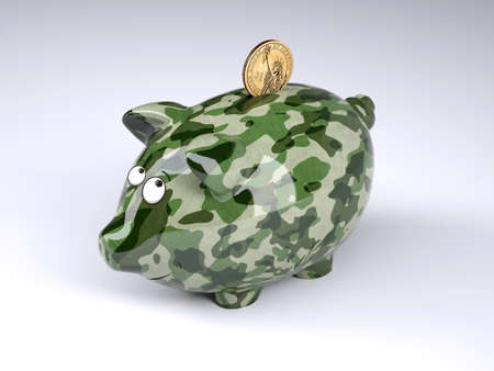 military camouflage painted piggy bank with dollar coin isolated on gray background , 3d illustration
