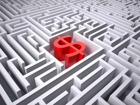 red dollar symbol in the centre of labyrinth, 3d illustration Stock Photo