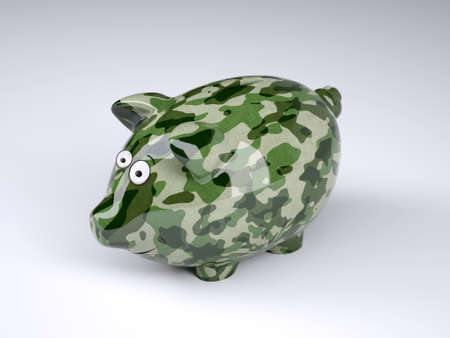 military camouflage painted piggy bank isolated on gray background, 3d illustration Stock Photo
