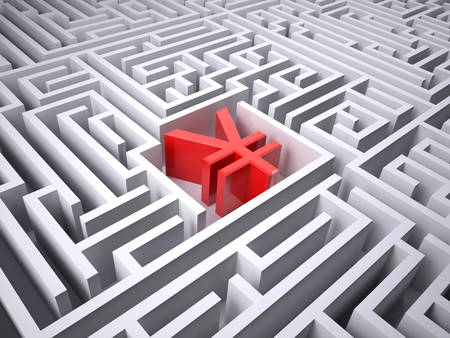 red yen symbol in the centre of labyrinth, 3d illustration Stock Photo