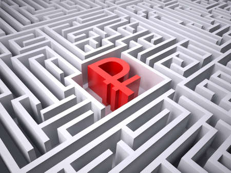 red rublee symbol in the centre of labyrinth, 3d illustration 写真素材