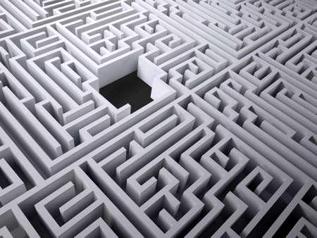 labyrinth maze with black hole space inside, 3d illustration Stock Photo
