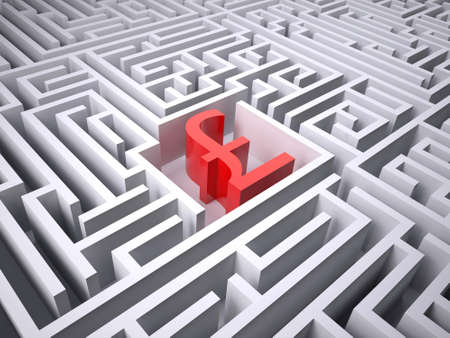 red sterling symbol in the centre of labyrinth, 3d illustration Stock Photo