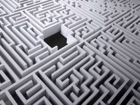 labyrinth maze with black hole space inside, 3d illustration 写真素材