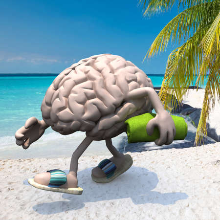 brain with arms, legs, sandals on feet and towel on hand on the beach, 3d illustration