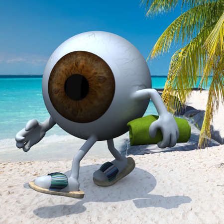 brown eye ball with arms, legs, sandals and towel on the beach, 3d illustration