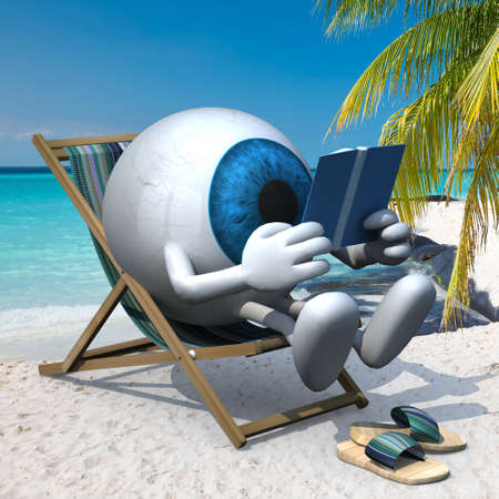 blue eye ball with arms, legs and sandals on the beach chair reading a book, 3d illustration