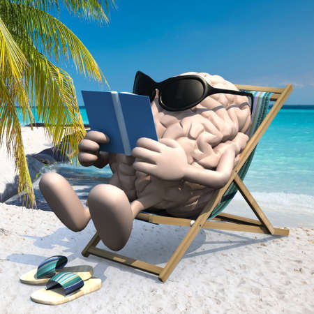 brain with arms, legs, sunglass and sandals on the beach chair reading a book, 3d illustration 写真素材 - 119272948