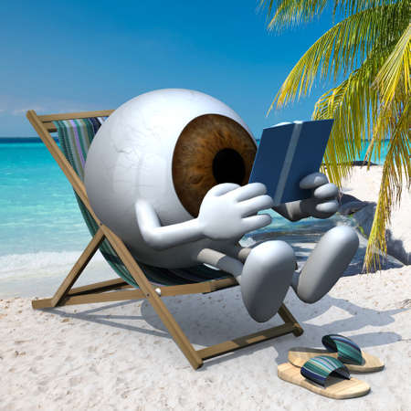 brown eye ball with arms, legs and sandals on the beach chair reading a book, 3d illustration