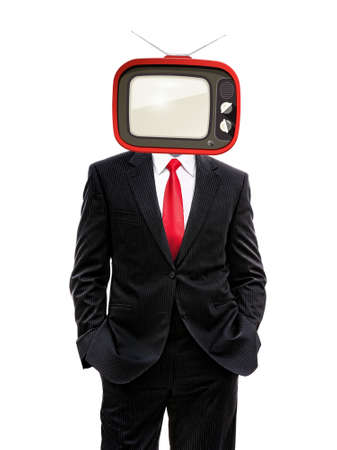 business man with retro tv on his head isolated on white, 3d illustration
