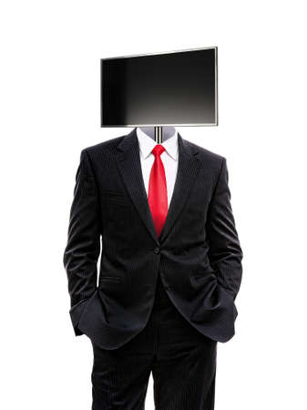 business man with monitor on his head isolated on white, 3d illustration