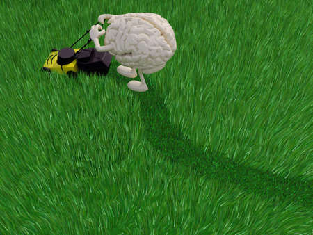 brainy cartoon cutting grass field with lawn mower, 3d illustration Stockfoto