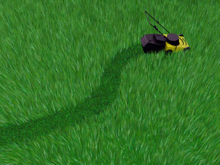 grass field cut by lawn mower, 3d illustration 写真素材 - 119272956