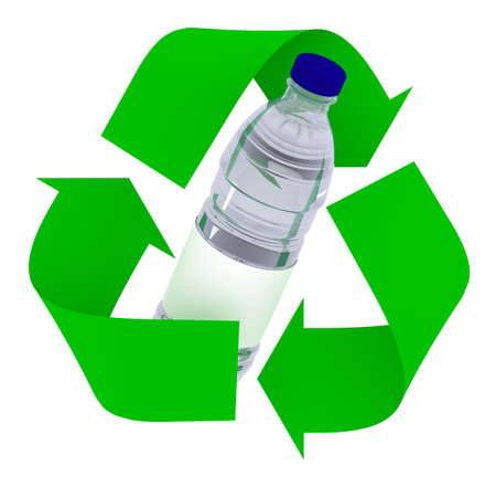 plastic bottle inside symbol recycle isolated on white background, 3d illustration 写真素材