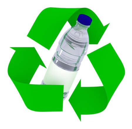 plastic bottle inside symbol recycle isolated on white background, 3d illustration Stock Photo