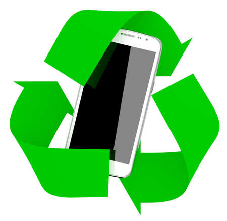 smartphone inside symbol recycle isolated on white background, 3d illustration Stockfoto