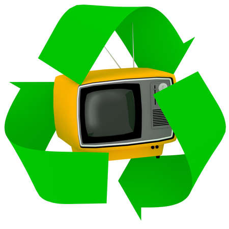 vintage television inside symbol recycle isolated on white background, 3d illustration Stock Photo