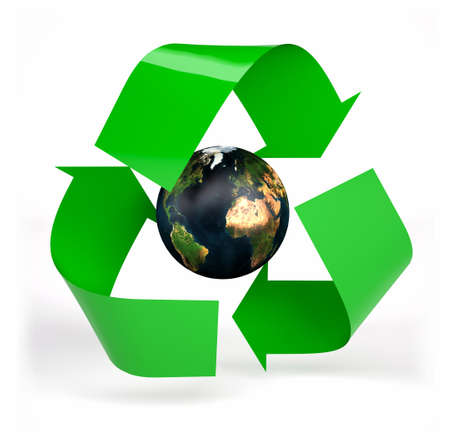 planet earth inside symbol recycle isolated on white background, 3d illustration Stock Photo