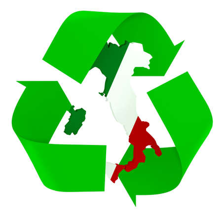 Symbol recycle with italian maps and flag colors, the green, white and red, 3d illustration Stock Photo