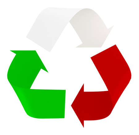 Symbol recycle with italian flag colors, the green, white and red, 3d illustration Imagens