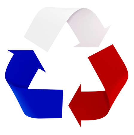 Symbol recycle with french flag colors, the green, white and red, 3d illustration